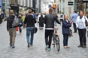 A public plaza in Denmark, modern day.