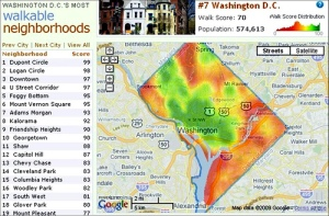 Walkability map of Washington DC. Green areas indicate high walkability, whereas red indicates difficult walkability.