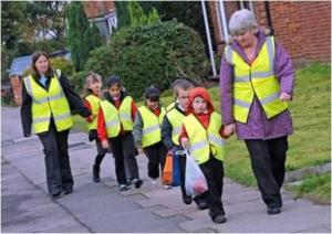 Walking school buses are one of many healthy activities a community can promote.