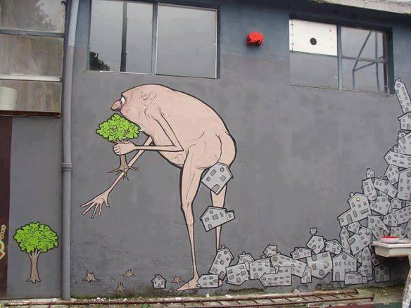 Graffiti can also take the form of social commentary. This piece, from NemOs was put up in Milano, Italy.  Courtesy Goupil le Renard. http://bit.ly/Rxo1GV