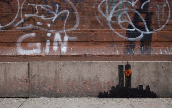 "A Banksy piece completed during the artist's ""Better Out than In"" ""residency"" in New York."