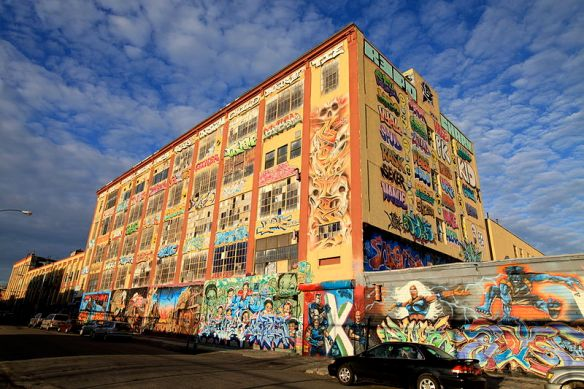 "The 5 Pointz warehouse, a ""graffiti mecca"" for street artists.  Photo from Ezmosis http://bit.ly/19wNNHx"