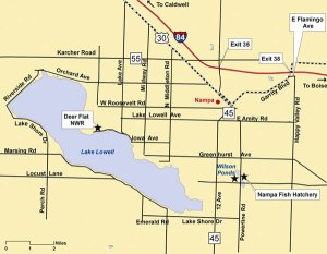 Map of Lake Lowell location (Idaho F&G; accessed 10/28/2013)