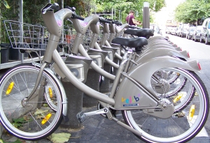 Velib- Paris' bike share system.  Photo courtesy of Wikipedia, 2013