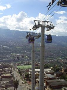 Metrocable gondola in Medellin, Colombia. First gondola lift used for mass transportation purposes. Wikipedia, 12/14/2013.