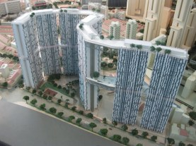 Model of the Pinnacle@Duxton – courtesy of HDB