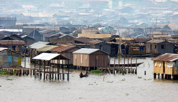 Makoko, a settlement with order and structure, but operating outside of local and federal government authority, and facing real challenges--including access to clean water, good jobs and education. Photo courtesy Rainer Wozny, Flickr.