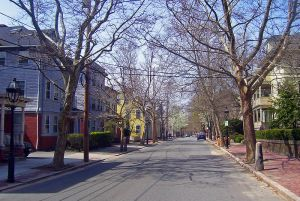 View north down Benefit Street in Providence, RI, USA, part of the College Hill Historic District, a National Historic Landmark District, accessed 2/17/14, Wikipedia