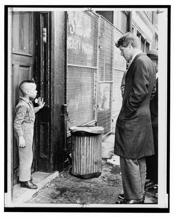 U.S. Senator from New York Robert F. Kennedy with Bedford-Stuyvesant neighborhood resident Ricky Taggart, on 733 Gates Ave. Credit Dick DeMarisco, Library of Congress.