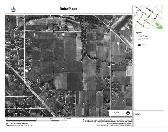 A aerial photograph of the Collister area in 1939, before Dr. Collister's farmland was subdivided. City of Boise Advanced Property Research. Accessed 3/8/2014.