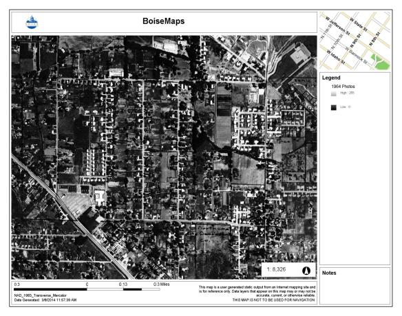 The Collister area, 1964, after a large portion of Dr. Collister's property was subdivided. Another portion became the site of Collister Elementary School. City of Boise Advanced Property Research. Accessed 3/8/2014.