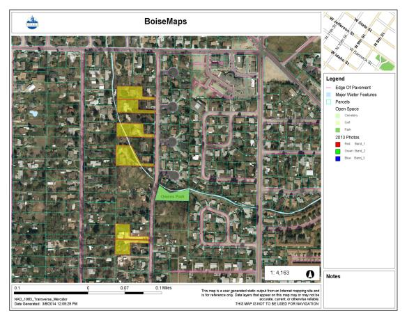 "A section of the Collister neighborhood today. Indicated in yellow are so-called ""flag lots,"" subdivided from the original large parcels. Modern subdivisions and the cul-de-sac development pictured in the right side of the image have fundamentally altered the character of this area, and confront the neighborhood's agrarian legacy. City of Boise Advanced Property Research. Accessed 3/8/2014."
