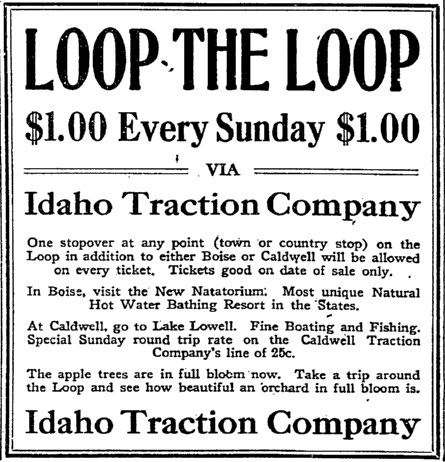 Newspaper ad from 1913 Idaho Statesman newspaper. Boise Public Library, Historical Idaho Statesman