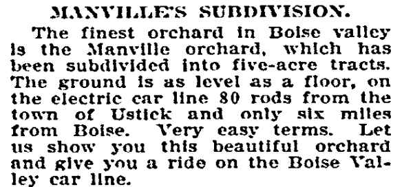 Advertisement from Idaho Statesman, May 17, 1908. Accessed from the Historical Idaho Statesman Archive online, 2/28/14