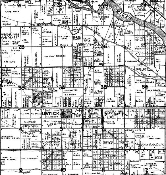 This is an ownership map of the area around the Ustick town site in 1938. Obtained from the Idaho State Archives, Metsker's Atlas of Ada County, Idaho, 1938, accessed 2/1/14.