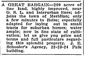 Advertisement for land near the Interurban Railway 1907, Boiseartsandhistory.org, accessed 3/4/2014.